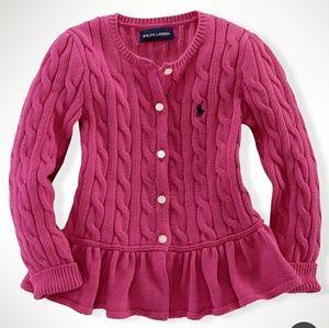Ralph Lauren Polo Pink Peplum Cardigan Size 4/4T